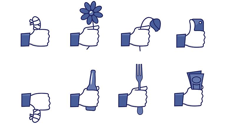 Ícones do Facebook com curtidas